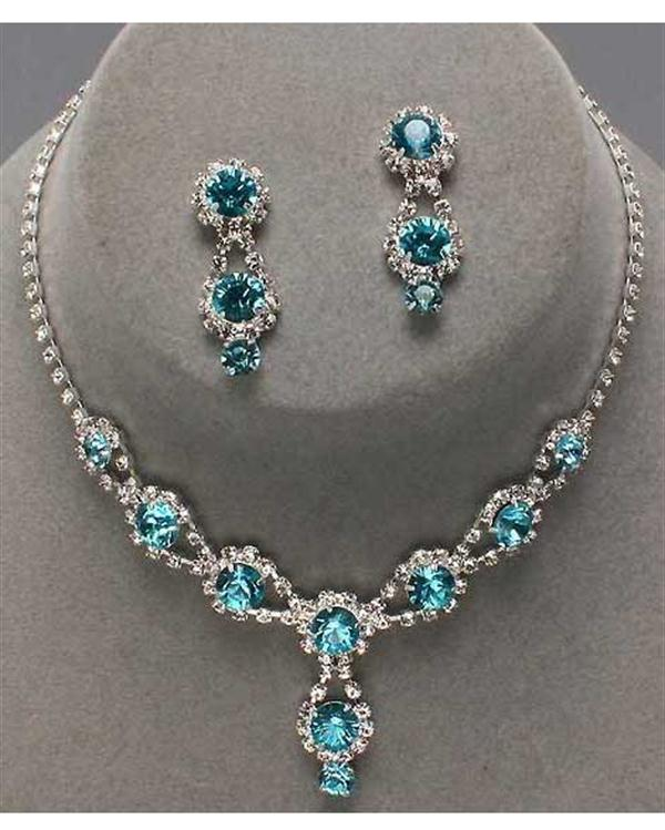 Turquoise Rhinestone Drop Necklace Set