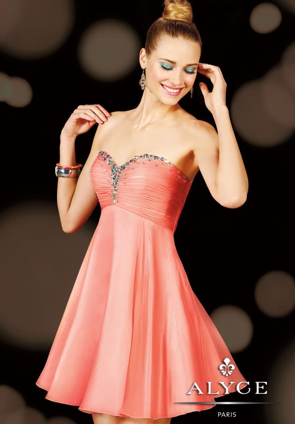 Alyce Short Strapless Silk Chiffon Dress 3598