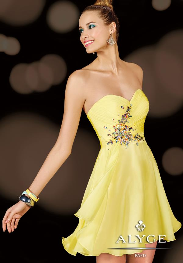 Alyce Short Chiffon A Line Yellow Dress 3632