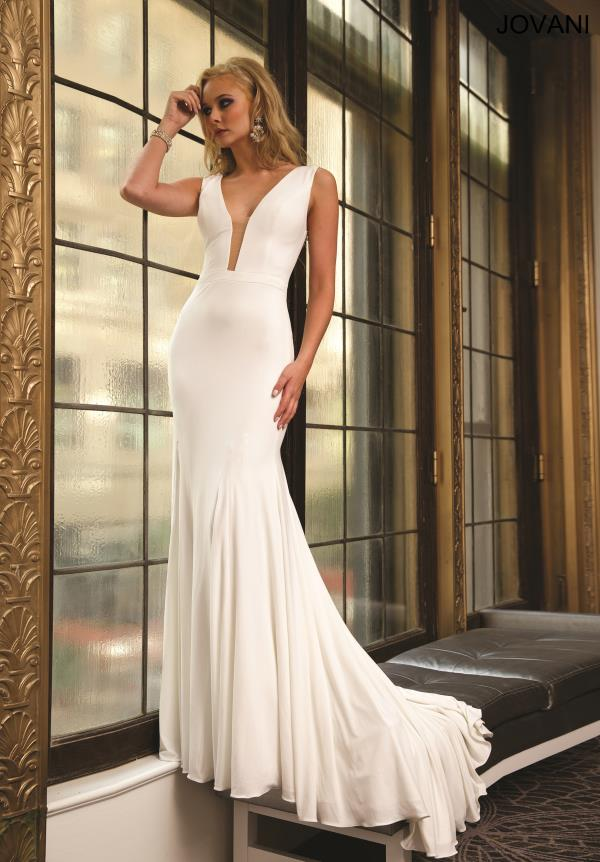 Jovani Two Straps Jersey White Dress 22884