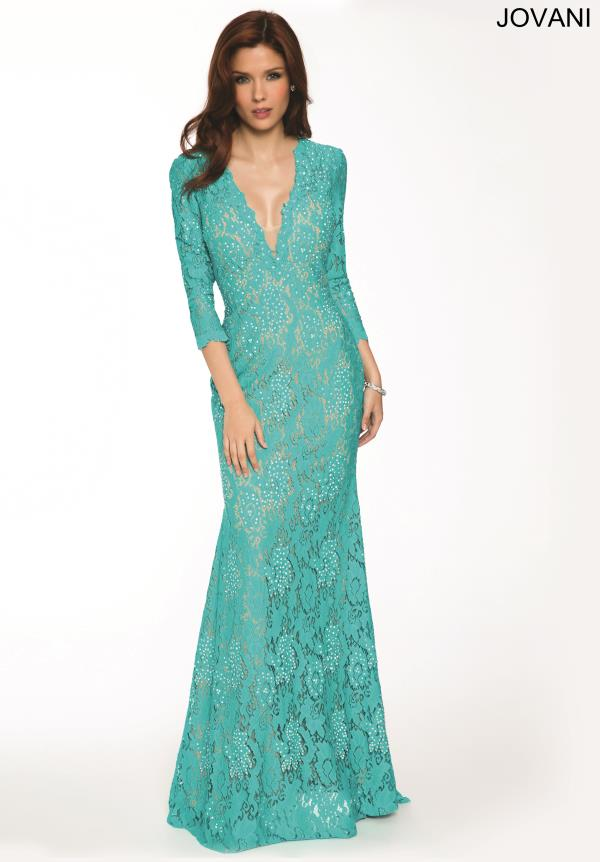 Jovani Sleeved Lace Dress 20025