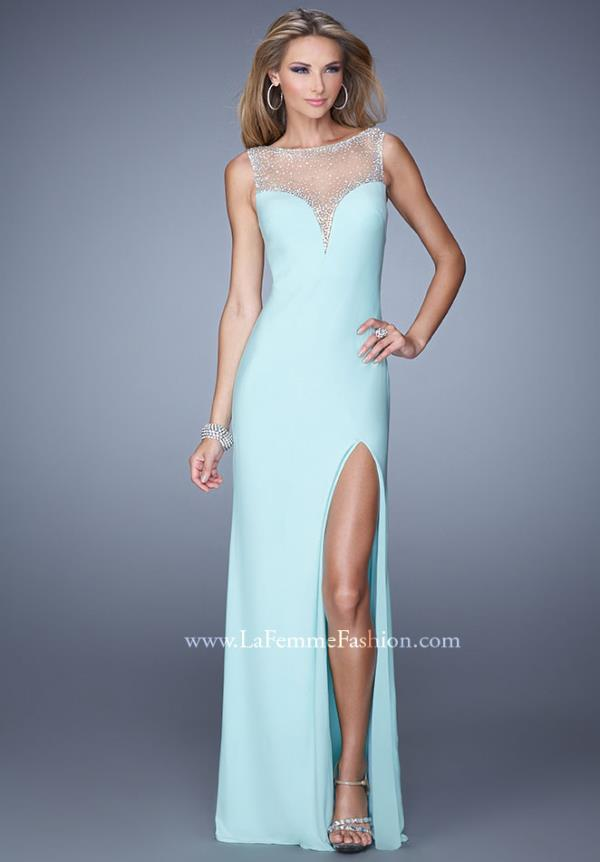 La Femme Fitted Beaded Dress 21020