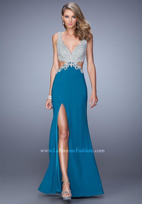 Femme Intricate Bodice Prom Dress 21281