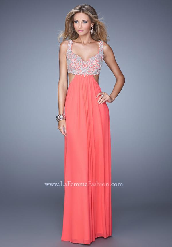La Femme Cut Out Coral Dress 21329