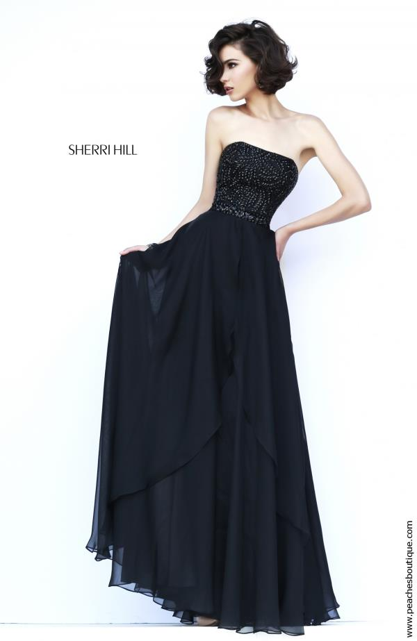 Sherri Hill Fitted Bodice Black A Line Dress 1941
