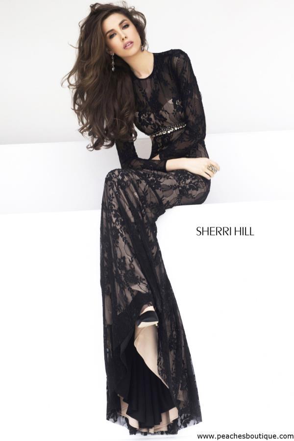 Sherri hill black long sleeve dress