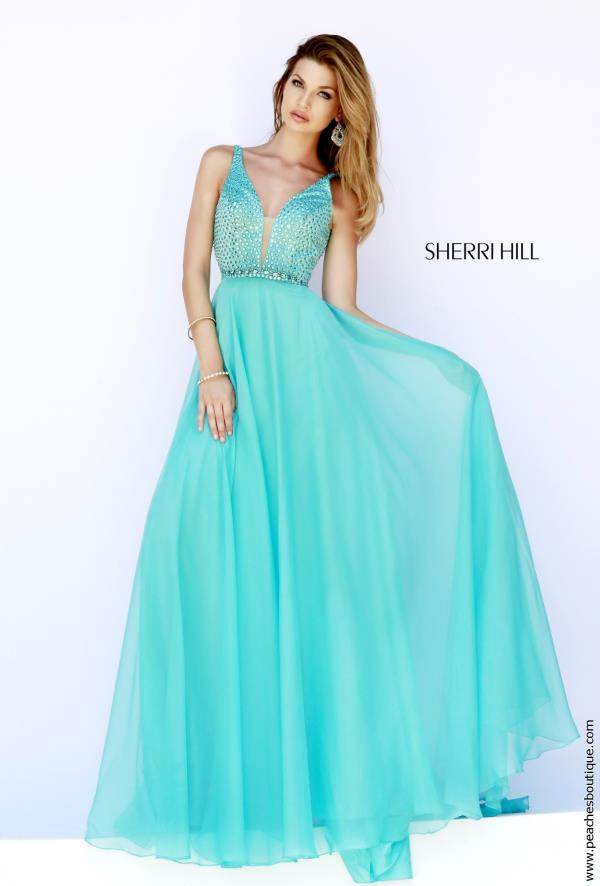 Sherri Hill Beaded Bodice Aqua Dress 32150
