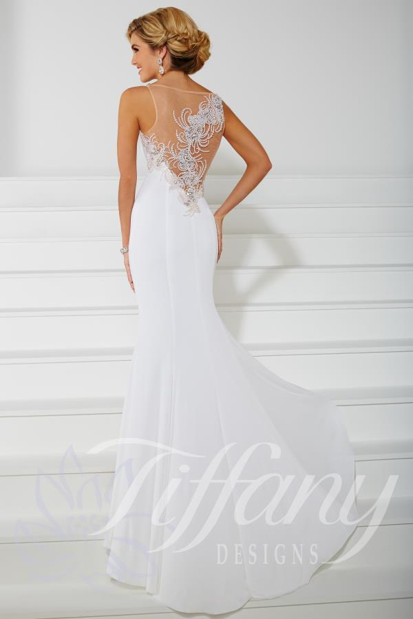 Fitted Long Jersey Gown by Tiffany Style 16104