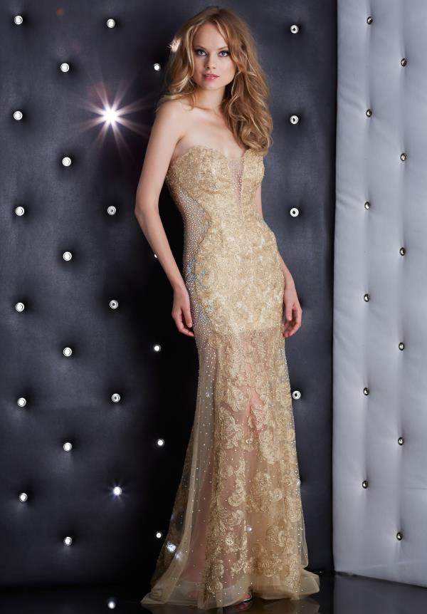 Jasz Couture Fitted Gold Dress 5400