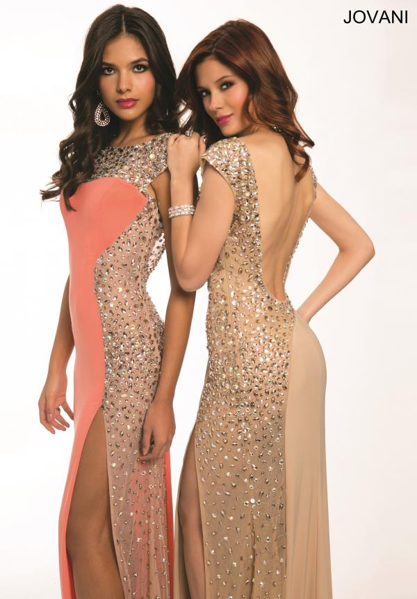 Jovani Beaded Sleeves Dress 88250