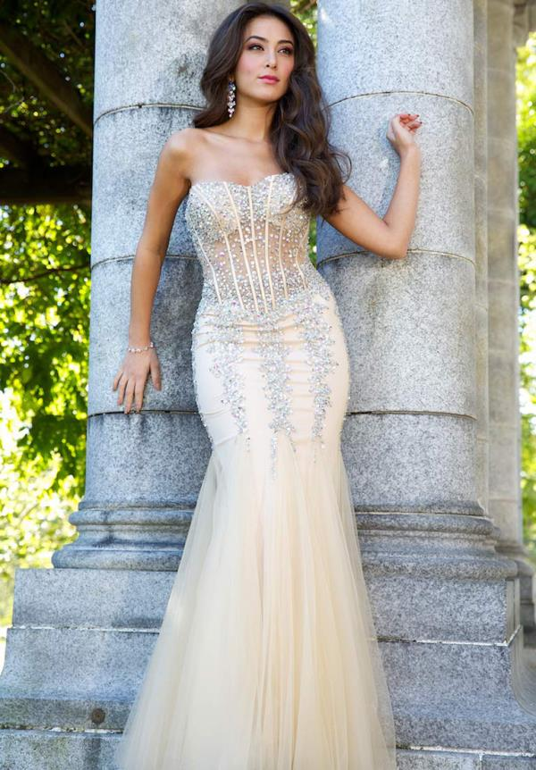 Peach Mermaid Prom Dresses in the Us