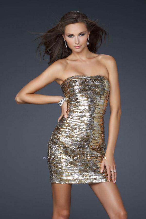 17496 Short Sequined Dress by La Femme