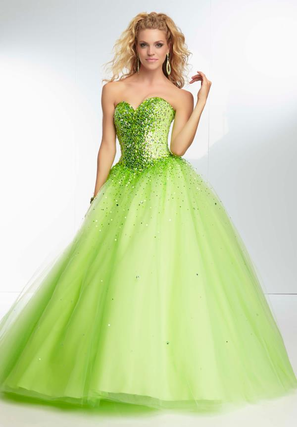 Mori Lee Lace Back Lime Dress 95093
