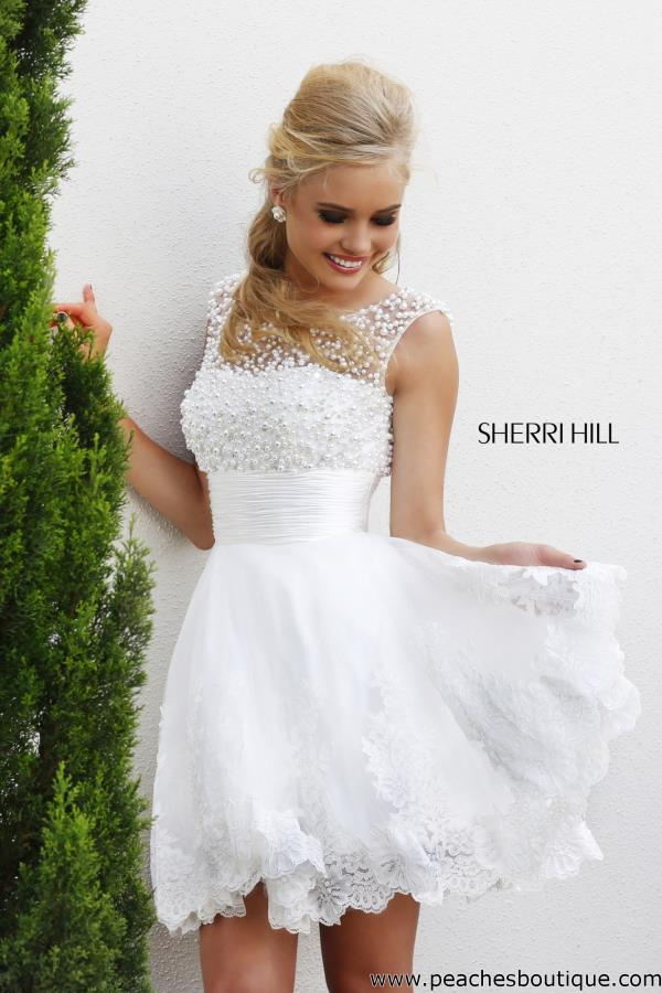 Sherri Hill Short Lace A Line Reception Dress 4302