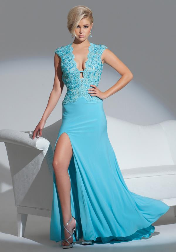 Le Gala Plunging Neckline Prom Dress 115554