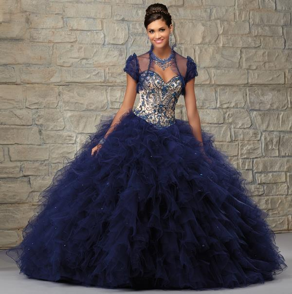 Vizcaya Navy Quinceanera Ball Gown 89038