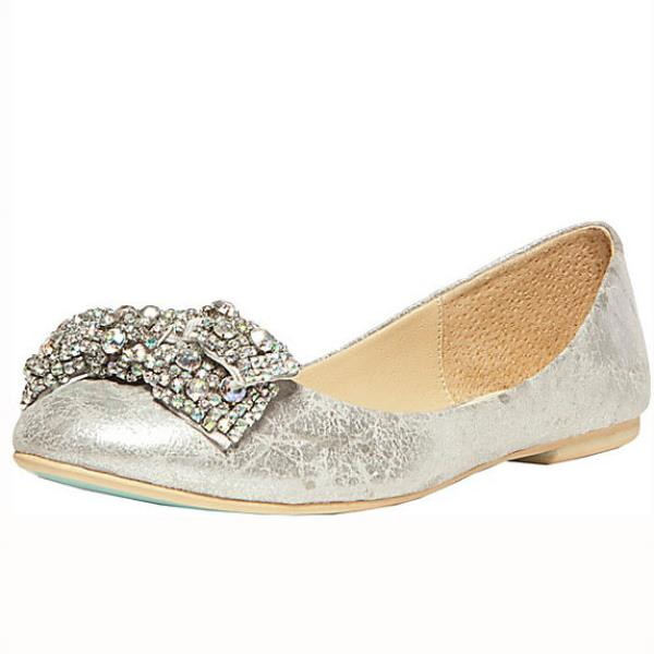 Sb-Ever Silver Metallic Flats by Betsey Johnson