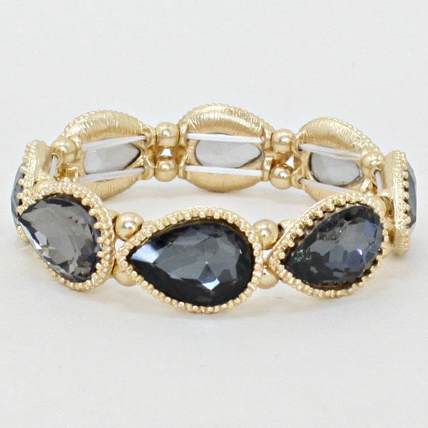 SB096 Gray and Gold Tear Drop Bracelet