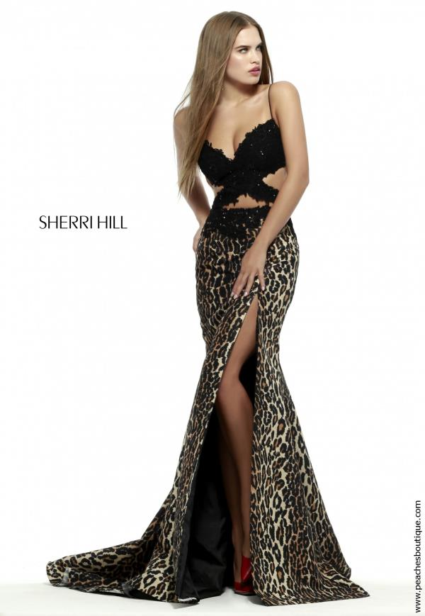 Sherri Hill Fitted Print Skirt Dress 32164