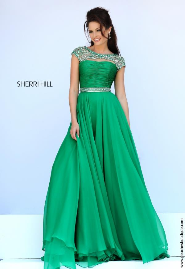 Beaded Cap Sleeved Sherri Hill Dress 11181