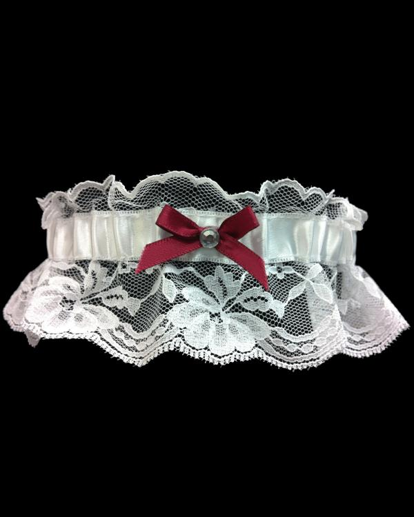 Wine/Burgundy Lace Prom Garter