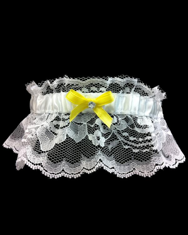 Vibrant Yellow Lace Prom Garter
