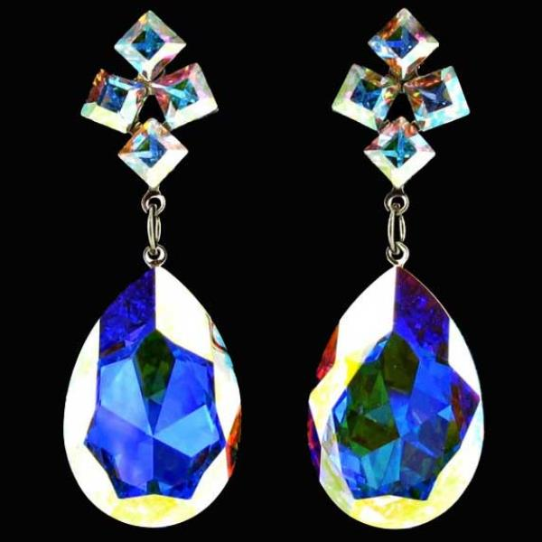 Jim Ball CE337 Swarovski Crystal Iridescent Earrings