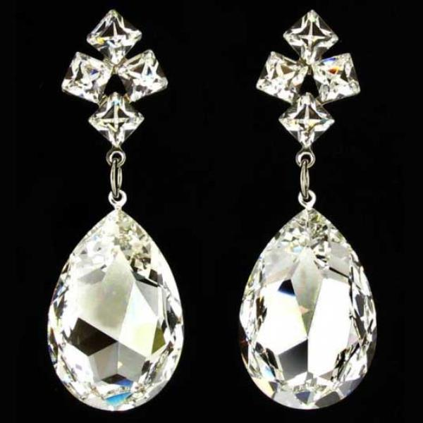 Jim Ball CE337 Swarovski Crystal Silver Earrings