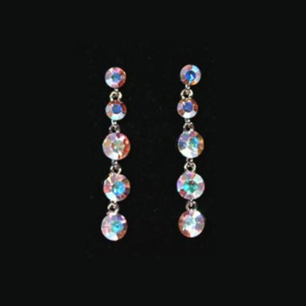 CE487 Iridescent Rhinestone Dangle Earrings