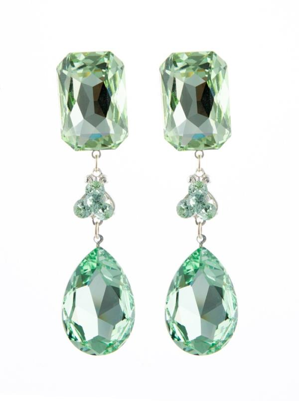 Jim Ball CE981 Swarovski Crystal Mint Earrings
