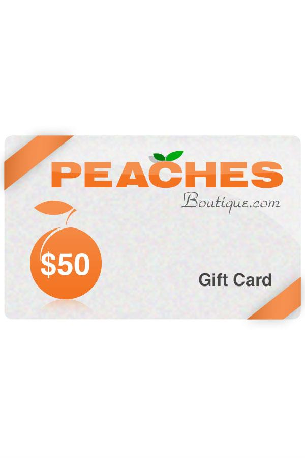 $50 PeachesBoutique.com and store Gift Card