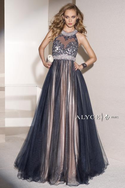 Alyce Paris Beaded High Neckline Dress 6448