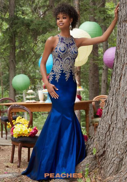 Mori Lee Applique Fitted Black Dress 98035