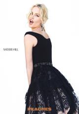 Sherri Hill Short Lace A Line Dress 50635. Black; Black