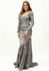 23adebdfcf5b Long Sleeved Fitted Jovani Dress 32607. White  Gunmetal
