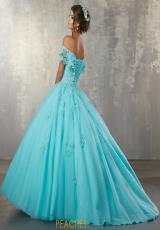 e478ff08d7b Vizcaya Quinceanera Cap Sleeved Lace Dress 89168. Scarlet  Aqua  Aqua ...