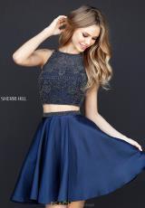 3c6b8991836 Sherri Hill Short Open Back A Line Dress 51299. Online Only. Plum  Navy ...