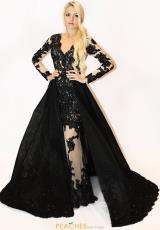 4e3c19dd3c Sherri Hill Long Sleeve Applique Dress 52026. Light Blue  Black ...