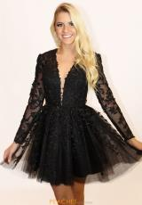 8128825db2 Long Sleeve Sherri Hill Applique Lace A Line 52343. Gold  Black  Gold  Ivory