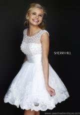 Sherri Hill Short Lace A Line Reception Dress 4302