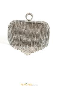 Silver Knuckle Fringe Prom Clutch